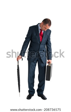 exhausted businessman isolated on a white background  - stock photo