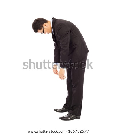 exhausted businessman stoop - stock photo