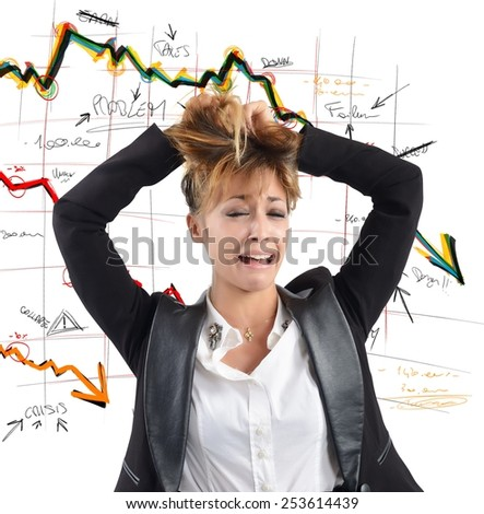 Exhausted businesswoman despairs for the financial collapse - stock photo