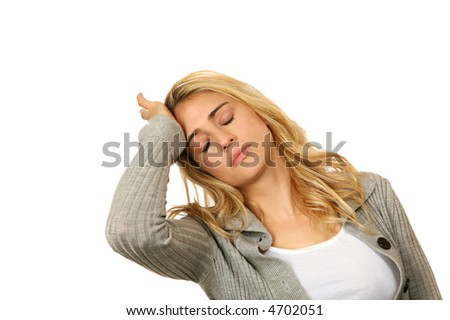 Exhausted Female Overwhelmed With Life on White - stock photo