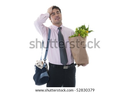 Exhausted man with diaper bag and shopping bag - stock photo