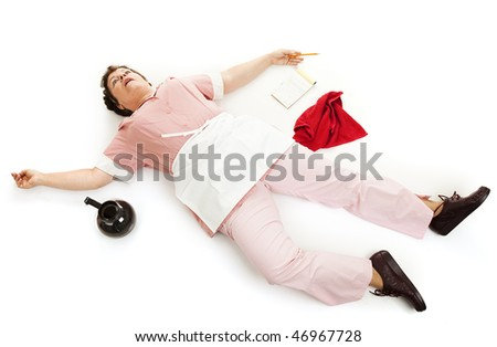 Exhausted waitress collapsed on the floor or dead.  Isolated on white. - stock photo