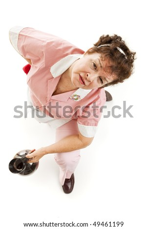 Exhausted waitress with back pain, getting up from the floor.  Isolated on white. - stock photo