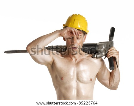 exhausted worker holding a pneumatic drill on white background.