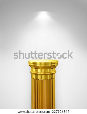 Exhibit Golden Pillar with Light, render - stock photo