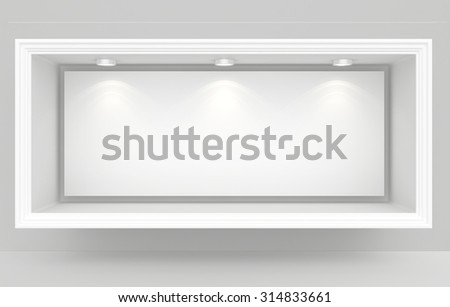 Exhibit Showcases with blank paper poster and light bulbs.