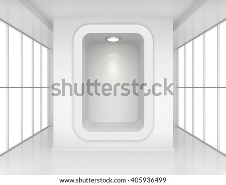 Exhibit Showcases with light sources in blank interior room large windows. 3d rendering - stock photo