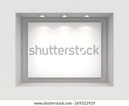 Exhibit Showcases with white placards and light bulbs. - stock photo