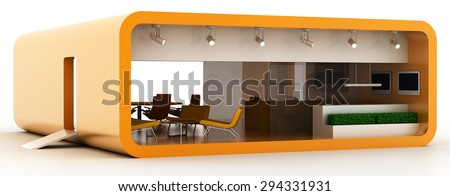Exhibition booth, blank and customizable. Original 3d illustration. - stock photo