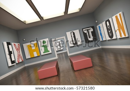 Exhibition - concept illustration. 3D rendered image. - stock photo