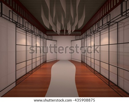 exhibition frame steel 3D interior render