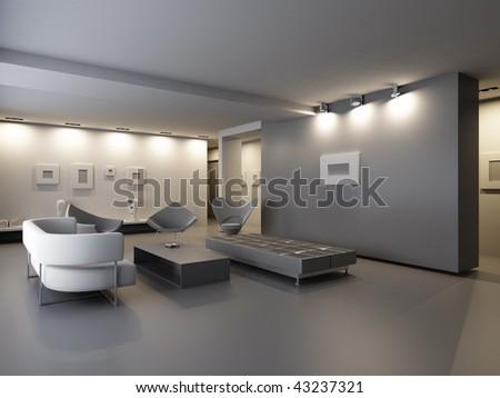 exhibition hall interior - stock photo