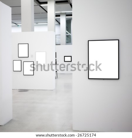 Exhibition in museum with many empty frames on white walls, square composition - stock photo