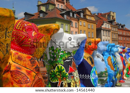 Exhibition of colorful Bears on Castle square in Old Town in Warsaw. Every bear represent different country of the world. - stock photo