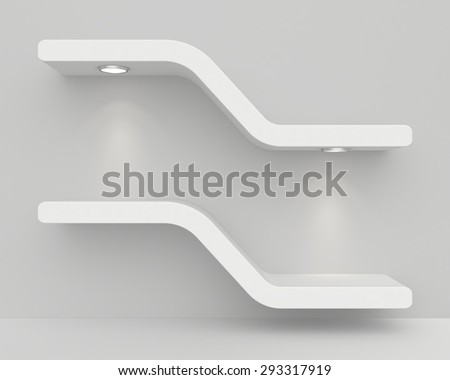 Exhibition shelves with light sources. 3d render - stock photo