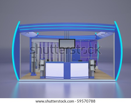 Exhibition stand.Front view. - stock photo