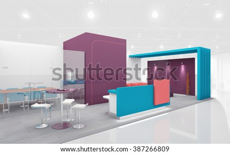 Exhibition Stand In Purple And Teal Colors 3d Rendering Part 57