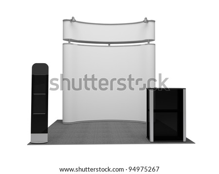 Exhibition stand on the white - stock photo