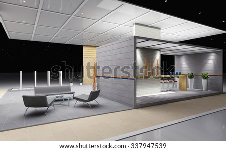 exhibition stand with tile and brick 3d Rendering - stock photo
