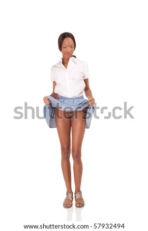 Exhibitionism series - black adult student exposing nakedness - stock photo