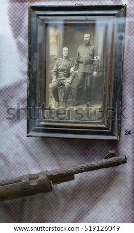 Exhibits of everyday people, antiquities in the Museum of the city of Shilovo, Ryazan area, Russia. The second floor of the Museum. Photo: male nurses of World War I