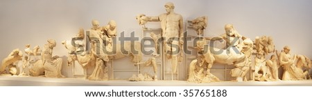 exhibits of museum in Olympia, Peloponnese, Greece, Europe - stock photo