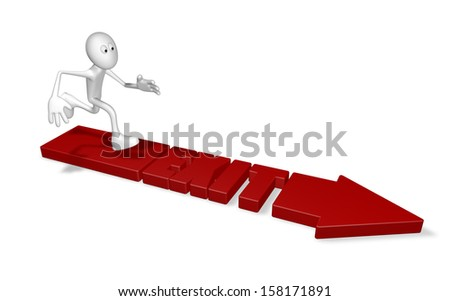 exit arrow and running cartoon guy - 3d illustration