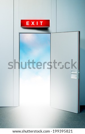 Exit door to heaven, conceptual image. Leaving all problems behind, walking into a new life, retirement, withdrawal concept. - stock photo