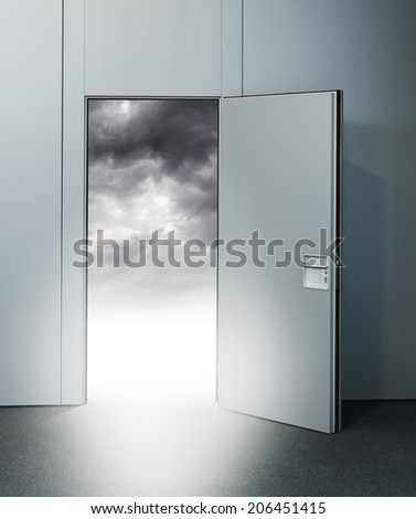 Exit door to heaven, conceptual image. Leaving all problems behind, walking into a new life, retirement; withdrawal concept. - stock photo