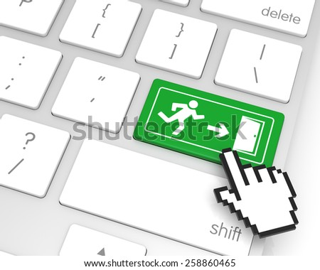 Exit enter key with hand cursor. 3D rendering - stock photo