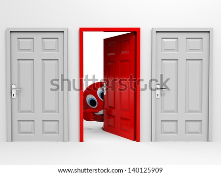 Exit. Entrance. Choice. Pointing at open door. 3D illustration. - stock photo