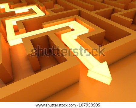 Exit from labyrinth - stock photo