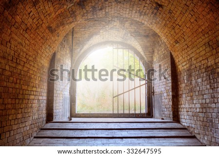 Exit from the tunnel at oblique caponier also known as Kiev Pechersk Fortress in Kiev, Ukraine - stock photo