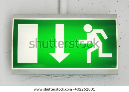 Exit or emergency exit sign - stock photo