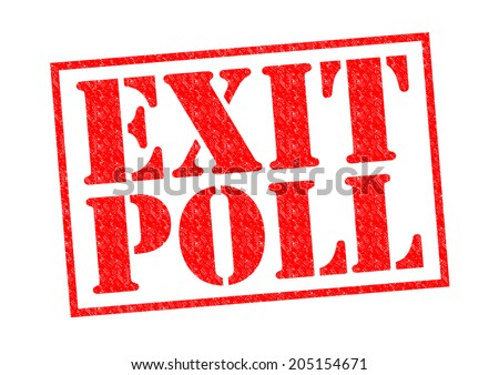 EXIT POLL red Rubber Stamp over a white background.