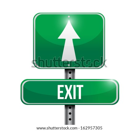 exit road sign illustration design over a white background - stock photo