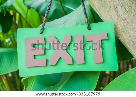 Exit Sign Closeup. - stock photo