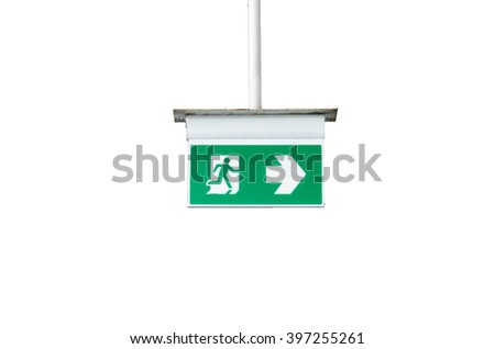 exit sign,fire exit  isolated on white background - stock photo