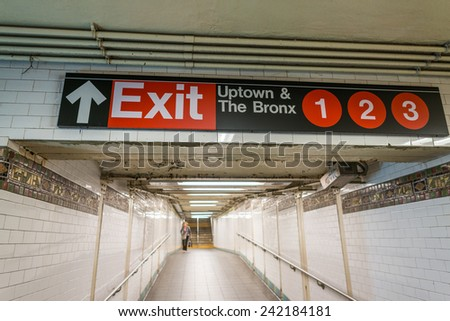 Exit sign in New York City subway. - stock photo