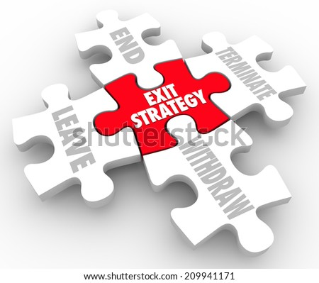 Exit Strategy words on puzzle pieces with terms end, terminate, leave and withdaw a partnership, agreement or marriage - stock photo