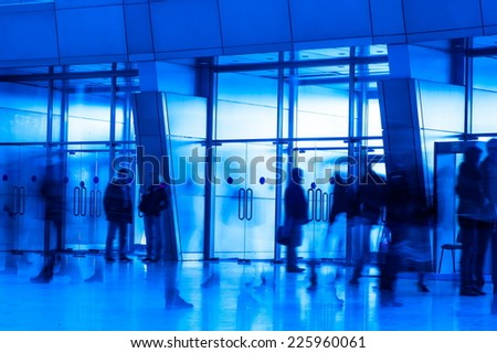 Exit the building and reaching people - stock photo