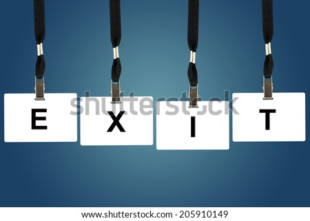 exit word on badge with blue background - stock photo