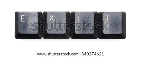 Exit word written with black keyboard buttons.