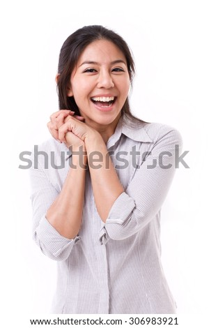 exited, happy, satisfied woman looking at you - stock photo