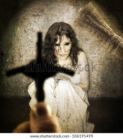 Exorcist and woman possessed by devil in dark grunge basement, abstract unique concept - stock photo
