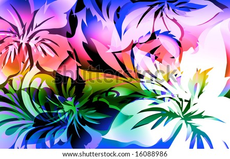 exotic animal like tropical jungle floral print with layered shadows and color highlights - stock photo