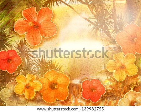 exotic background collage with hibiscus flowers - stock photo