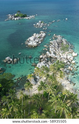 exotic beach at belitung indonesia from high angle - stock photo