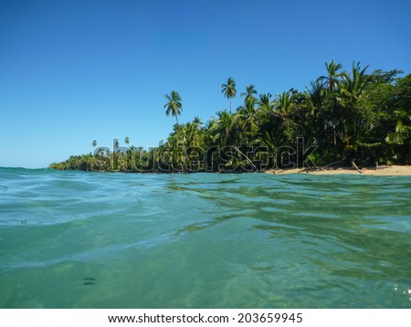 Exotic Beach at Costa Rica. Tropical Adventure. Traveling Central America. - stock photo