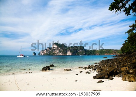 Exotic beach holiday background - Thailand ocean landscape